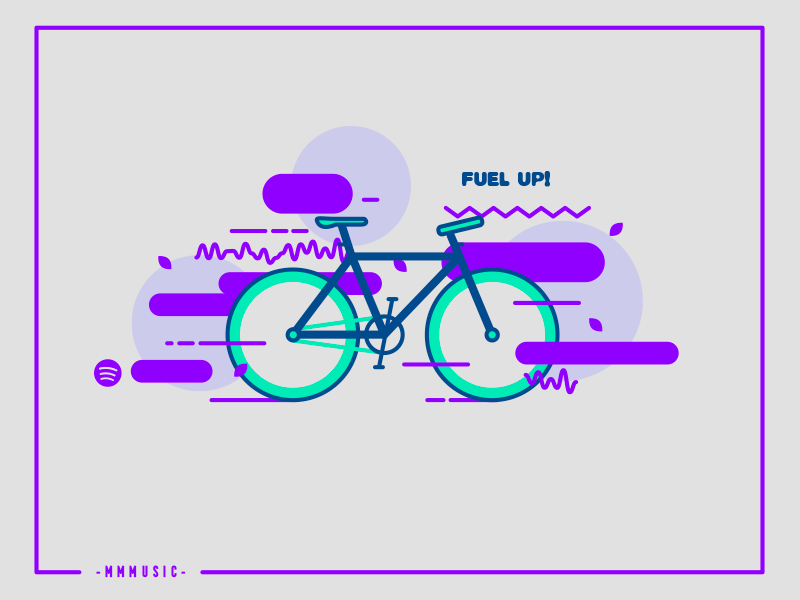 Fuel Up purple flat abstract bicycle bike playlist music illustration vector