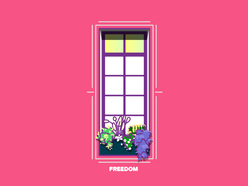 Freedom vector illustration window flowers doodle geometric pink