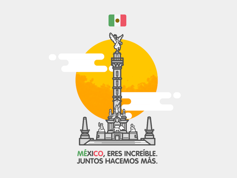 Mexico, You're Incredible monument sun independencia angel flag building mexico illustration vector