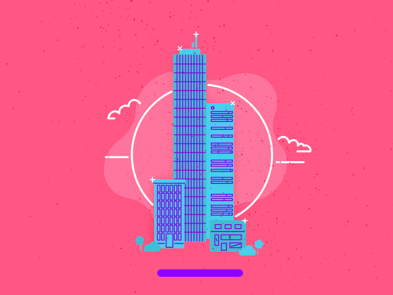 New City pink city mexico geometric doodle architecture buildings illustration vector