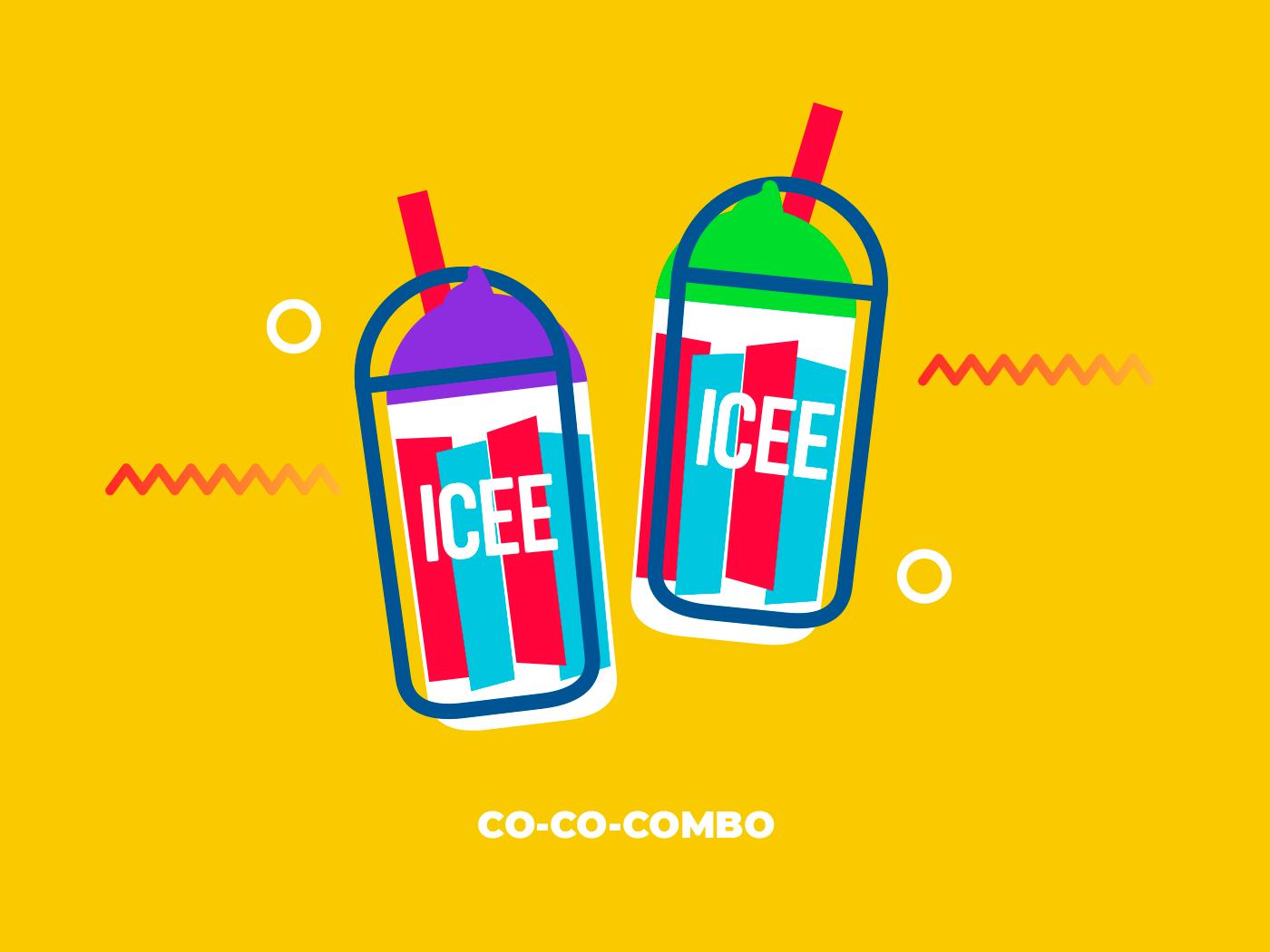 Combo branding design geometric icee ice cream mexico illustration vector