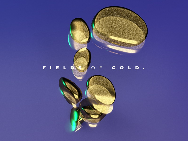 Fields of Gold geometric liquid gold 3d cinema4d