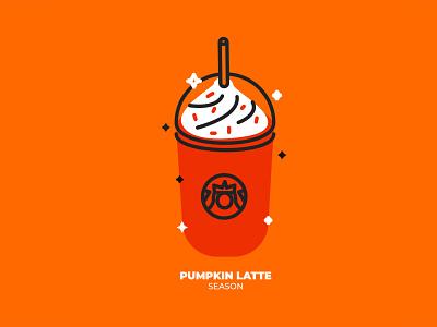 Pumpkin Latte mexico design pumpkin starbucks coffee latte geometric illustration vector