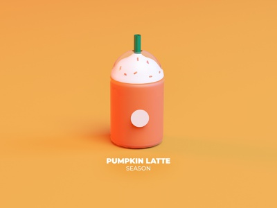 Pumpkin 3D Latte mexico latte pumpkin coffee cup starbucks cinema 4d cinema4d 3d