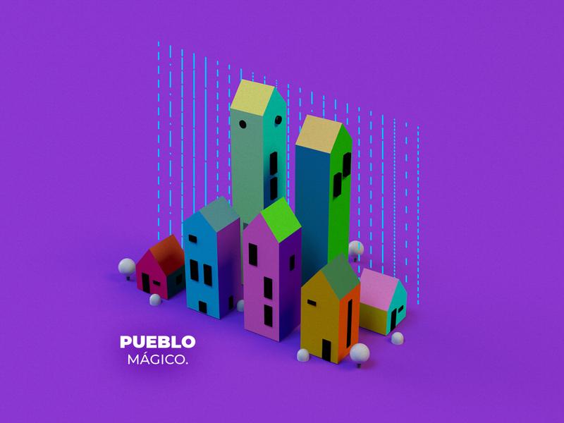 Magic 3D Town magic houses colorful mexico geometric buildings town cinema4d 3d