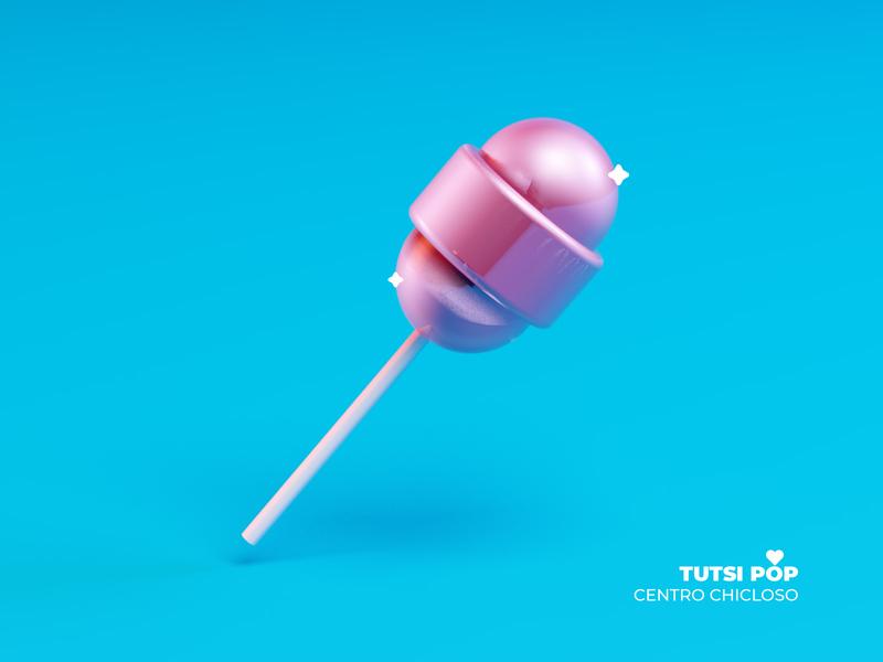 Tutsi Pop tutsi mexico candy paleta lollipop cinema4d 3d vector