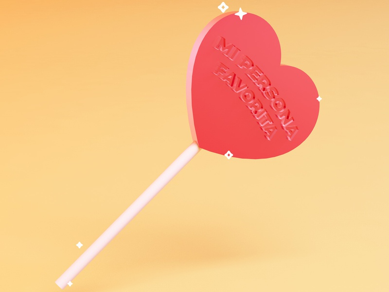 Favorite person mexico love heart hard candy lollipop cinema 4d cinema4d 3d