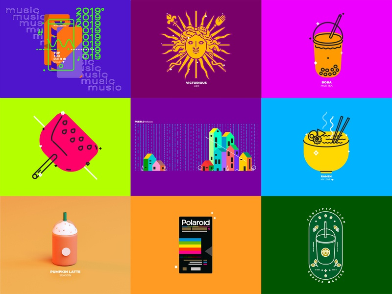 Top 9 of 2019 colorful cinema4d geometric illustration vector top9