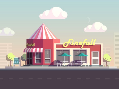 snack bar illustration completed snack bar illustration house shop building city cloud tree liushui china