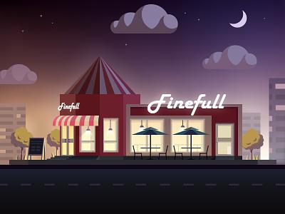 Night view illustration of snake bar  scene night view illustration snake bar house moon city building cloud shop