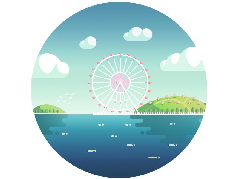 Ferris wheel valley ferris wheel happy city cloud lake water hill illustration