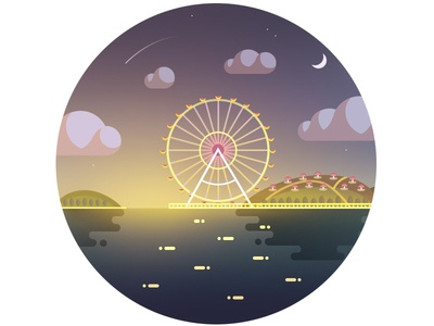 Night view of ferris wheel
