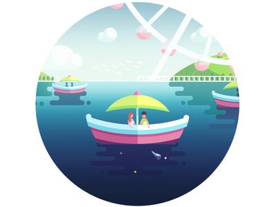 In the boat in boat lake