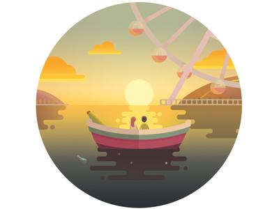 Sunset  in the boat sunset boat lake illustration