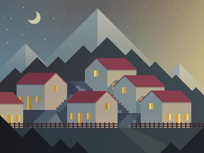 Village 2 village night mountain house tree moon sky star