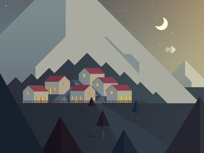 Village evening version (full view) village night mountain house tree sky star moon cloud forest