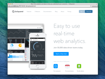 GoSquared homepage for May 2014 home gosquared icons simple analytics