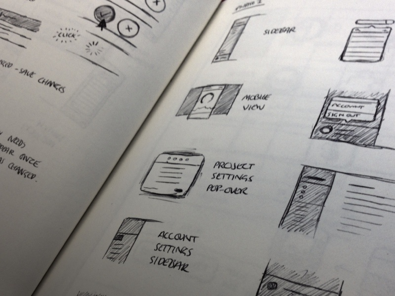 Designing the new GoSquared data gosquared mockup ui icons paper sketches