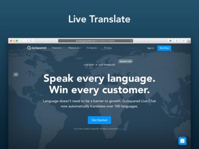 Live Translate landing page world map globe launch live chat translation landing page