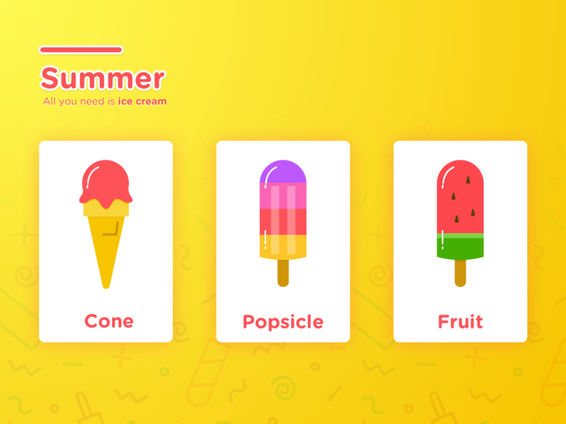 All you need is Ice Cream popular nikita bright colors cool vibrant colors summer fruit icecream popsicle food cute vector creative illustration colors sketch app design