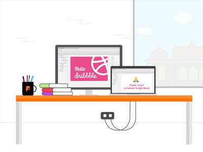 Hello Dribbble!! work station jaipur punchh imac macbook debute