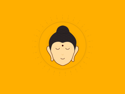 Peaceful Buddha face relax peace orange meditate illustration cute calm buddha simplify