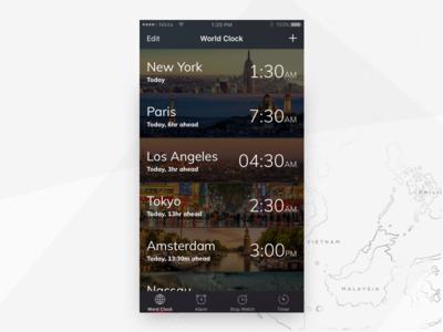 iPhone World Clock Redesign new york dark ui design amsterdam paris time redesign ui clock iphone