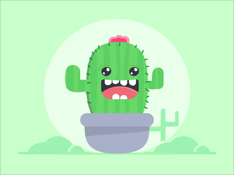 Cactus 🌵🏜️ green character cute cactus vector flat icon illustration colors sketch app design