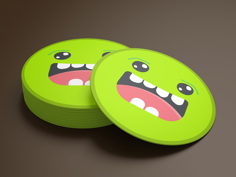 Coaster Monster playoff sticker mule coaster monster cute vector creative flat icon illustration colors sketch app design