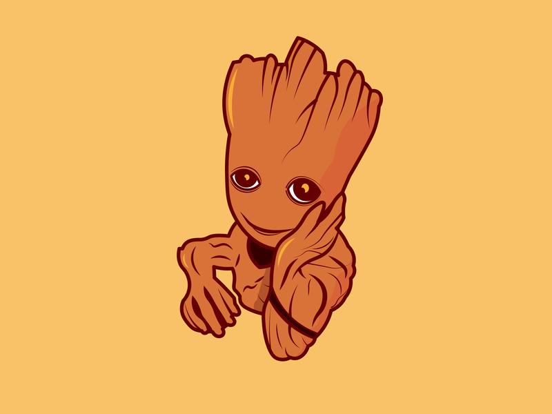 Groot minimal flat icon vector illustration design
