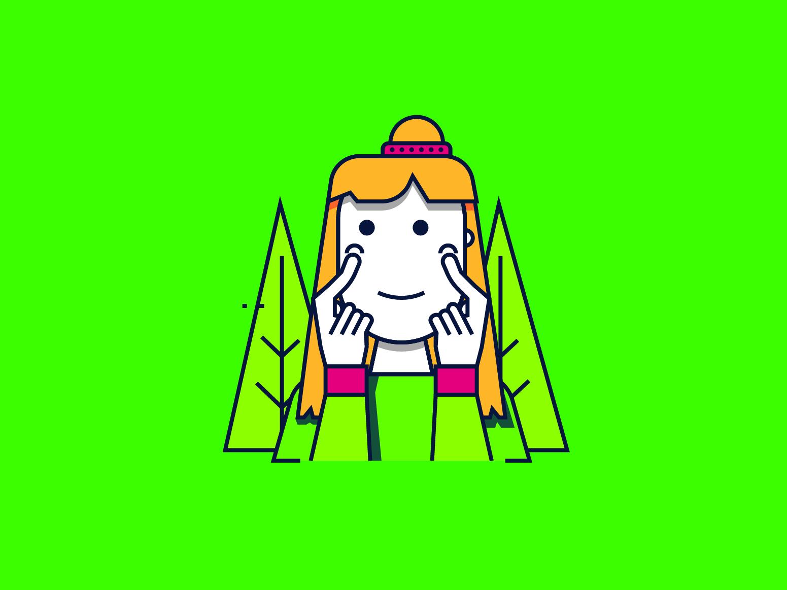 Character Florest minimal flat design illustration vector