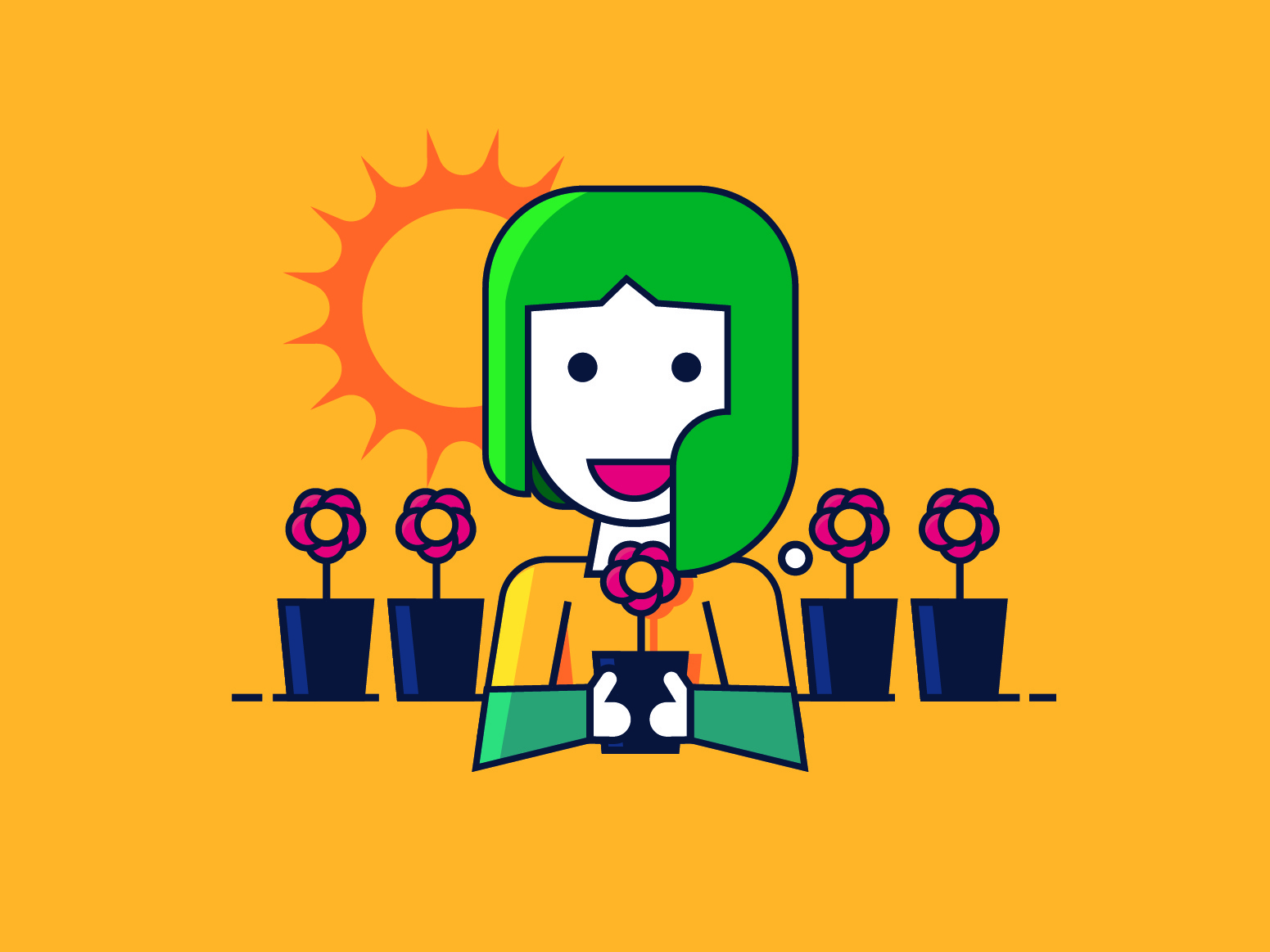 SunFlower animation flat minimal vector design illustration