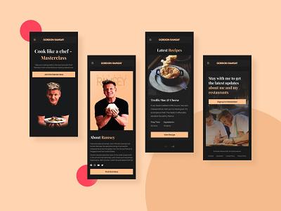 Gordon Ramsey Website Design (Mobile) user interface user experience figma mobile app mobile visual design homepage landing page minimal food chef cook branding web design website ux design ui typography