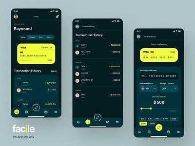 Facile® | Mobile Banking flat minimal ux neobank banking app mobile banking banking visual identity ui design app mobile fintech money transfer