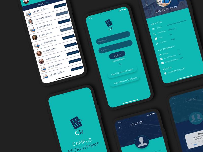 Campus Recruitment System job application job listing mobile app design mobile ux ui design app