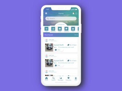 Classified Ad App Home Screen