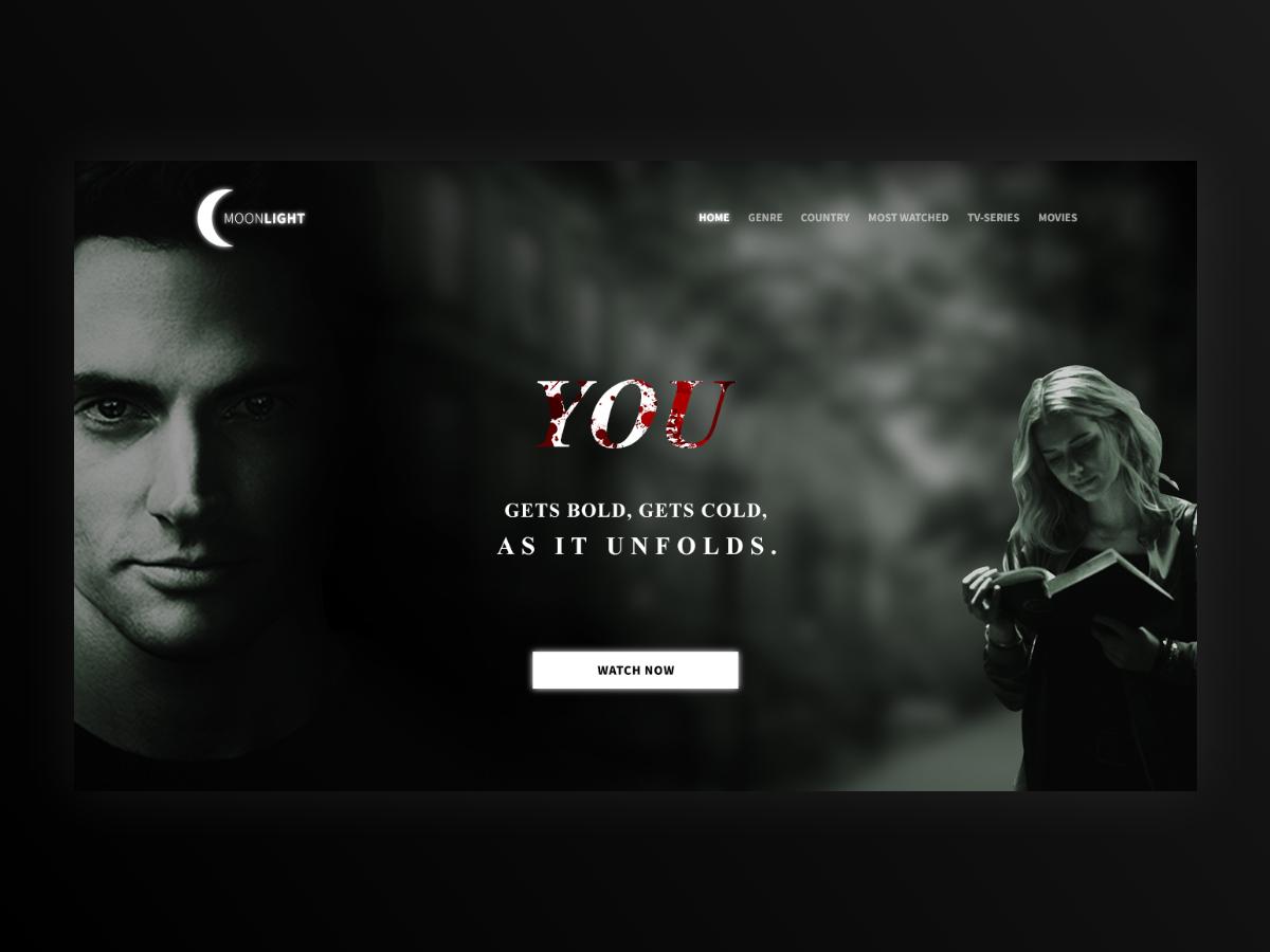 Moonlight branding website tv series movies illustration typography web design ux