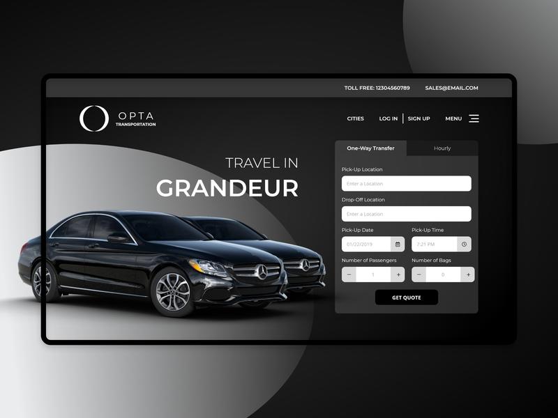 Opta Transportation Homepage website typography branding product design design flat luxury brand luxury cars rent a car luxury design ux ui web  design