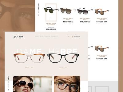 Eyewear Online Store categories navigation flat clean page homepage eyewear glasses ecommerce shop store online