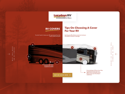 LazyDays - Why use RV Covers Landing Page travel leisure driving uber rv car lazydays clean red interactive page landing