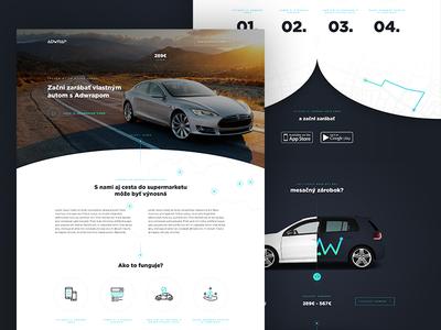 Adwrap - Homepage footer testimonials map illustration luxury tesla uber app navigation driving travel homepage
