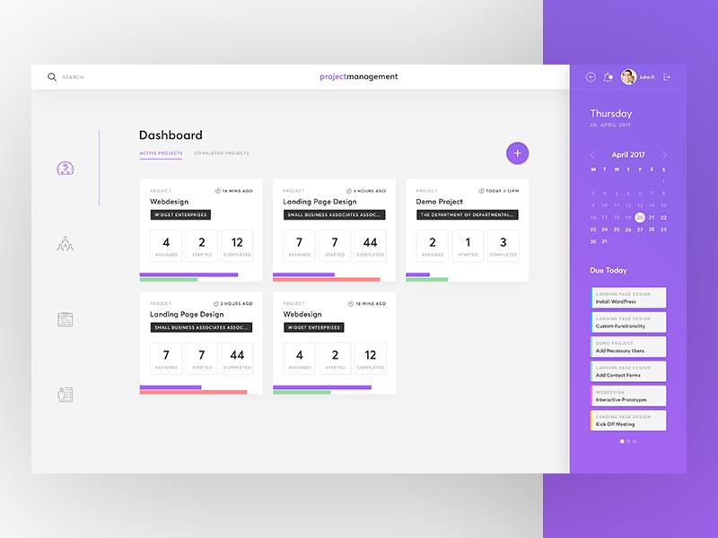 Project Management Dashboard notification sidebar task calendar admin flat clean backend saas dashboard management project