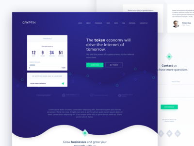 Cryptocurrency Landing Page cryptocurrency finance bitcoin footer homepage blockchain landing countdown newsletter team partners contact
