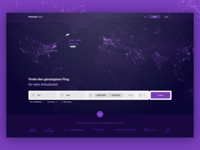 Flight search engine page landing purple glow map earth dark portal travel booking search flight