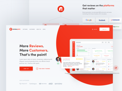 ReviewPoint Homepage clean typography page landing service review red illustration design web flat homepage