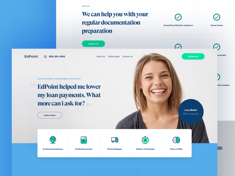 EdPoint - Homepage header hero navigation steps icons student finance loan modern flat clean homepage