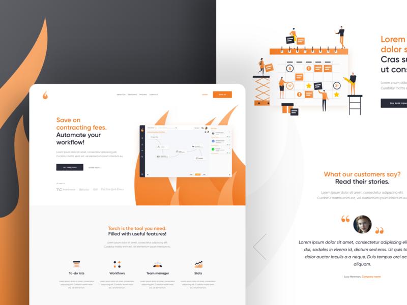 SaaS Product Homepage landing icons illustration flat testimonials orange light clean web page homepage saas