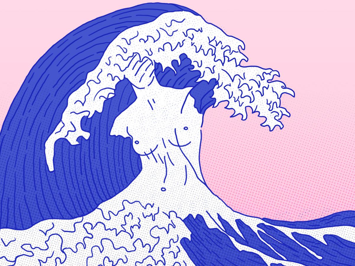 The feminist wave art half tone wacom tablet photoshop illustration