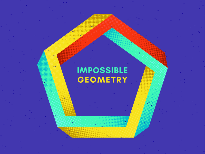 Impossible geometry half tone pentagon geometic geometry impossible shape geometric design geometria illustration