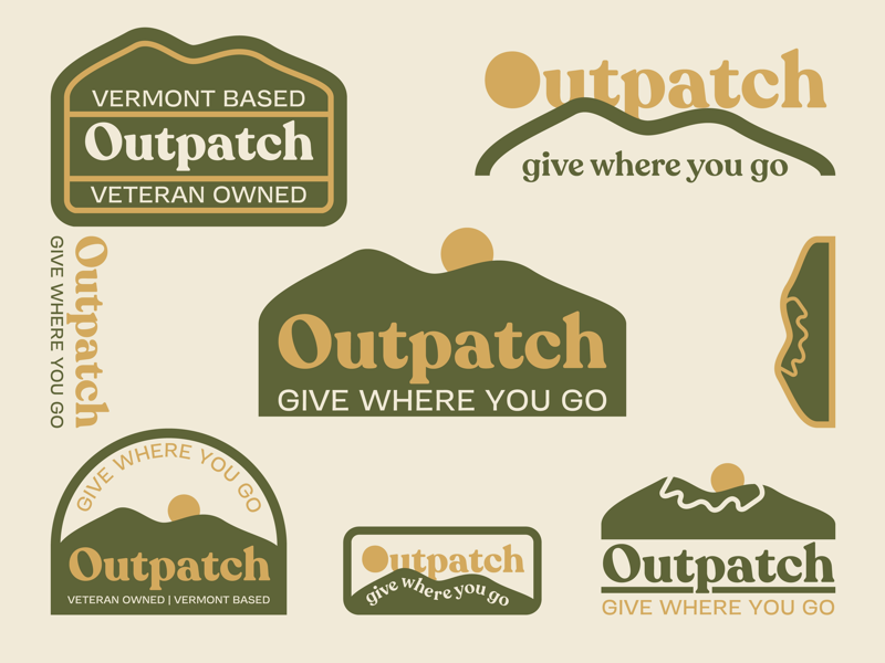 Outpatch Branding brand collateral logo design logo veteran patch charity badge design badge vermont mountains vector brand identity identity branding